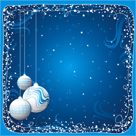 flakes: blue christmas card with  balls, vector Illustration