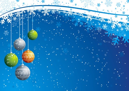 knack: blue christmas background with  balls, vector Illustration