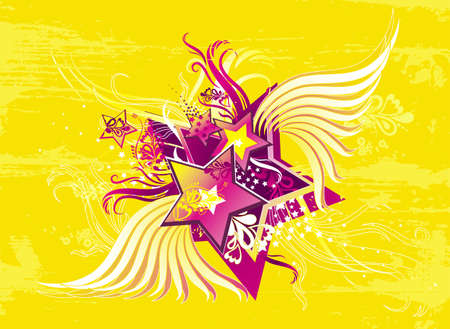 yellow background with pink stars, floral ornament, lines and splashes, vector illustration