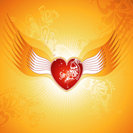 Lovely red heart on golden background with wings, vector, valentines Stock Vector - 2338487