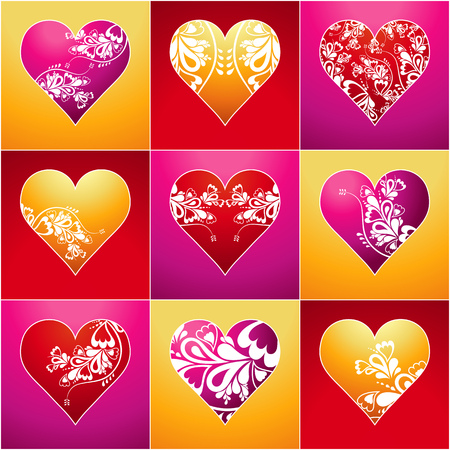 nine lovely color heart, vector illustration Stock Vector - 2338488