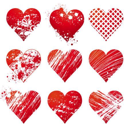 nine lovely red heart, vector illustration Vector