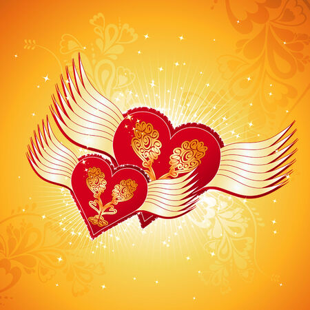 two lovely red heart on golden background with wings, vector illustration Stock Vector - 2338490
