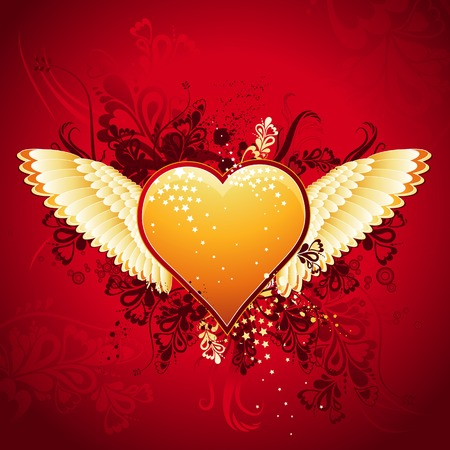 lovely golden heart on red background with wings, vector illustration Stock Vector - 2349112