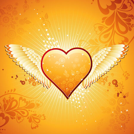 lovely golden heart on golden background with wings, vector illustration Stock Vector - 2360095