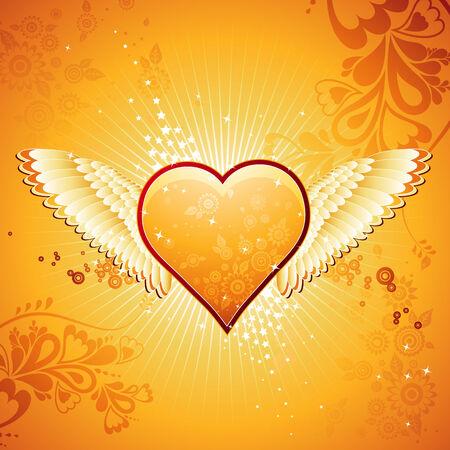 golden heart: lovely golden heart on golden background with wings, vector illustration