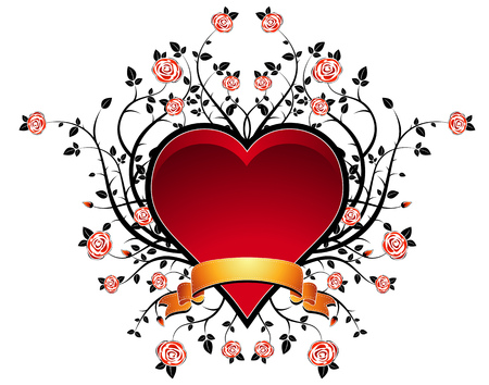 lovely red heart with many roses, vector illustration Stock Vector - 2360100