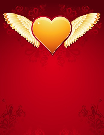 lovely golden heart with wings on red background , vector illustration Stock Vector - 2360378
