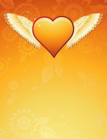 lovely golden heart with wings on golden background , vector illustration Stock Vector - 2360094