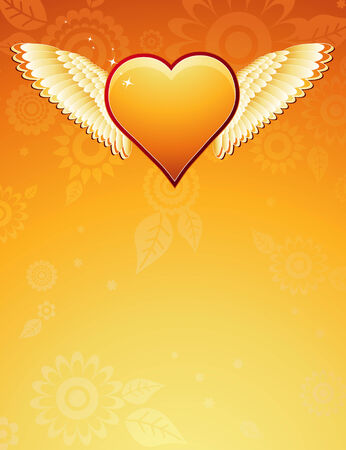 lovely golden heart with wings on golden background , vector illustration