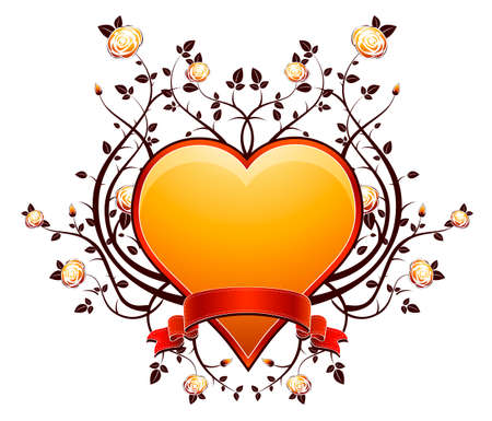 lovely golden heart with many roses, vector illustration Stock Vector - 2362406