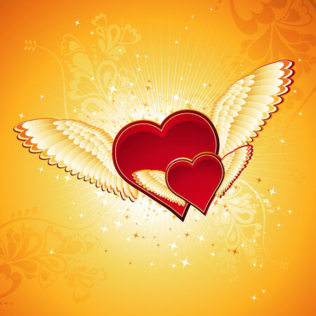 two lovely red heart on golden background with wings, vector illustration Stock Vector - 2362405