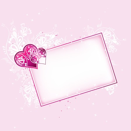 lovely pink hearts with card, vector illustration Stock Vector - 2370482