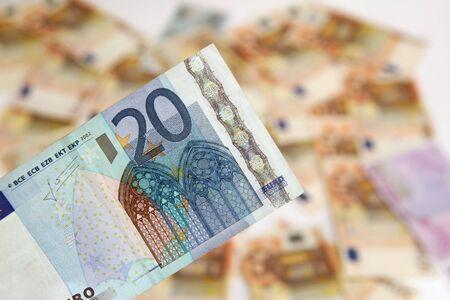 twenty euro banknote: twenty euro banknote on background of money
