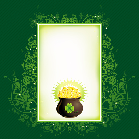 Pot with golden coins for St. Patricks Day, vector illustration