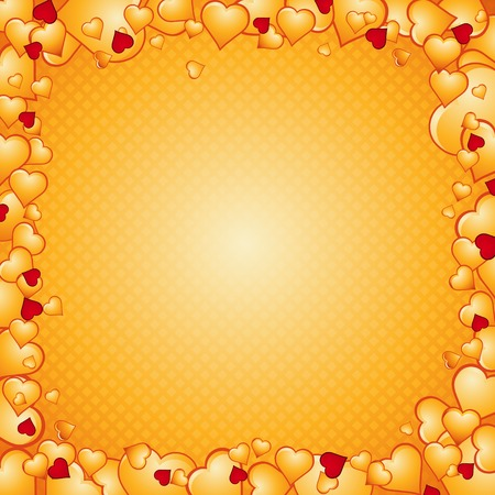 lovely golden background of hearts, vector illustration Stock Vector - 2486569