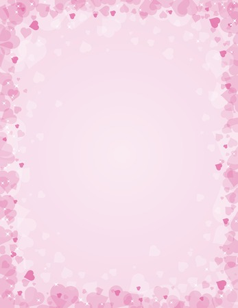 pink hearts: pink background for valentines day, vector illustration