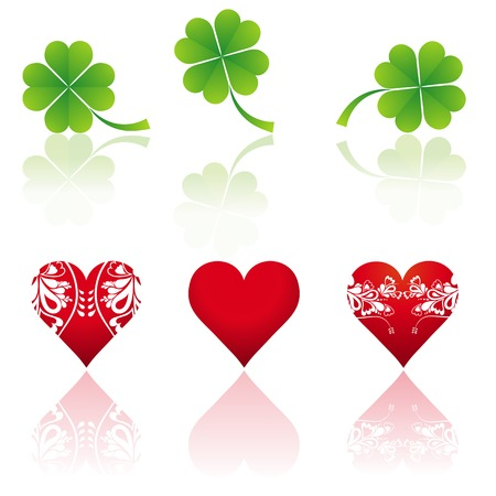 three hearts and three shamrocks, vector illustration Stock Vector - 2506114