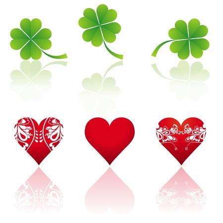 three hearts and three shamrocks, vector illustration Stock Vector - 2506114
