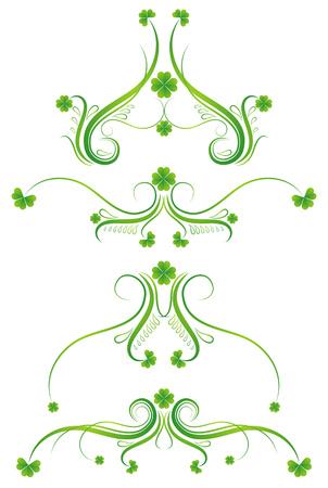 clover shape: decorative ornament  with lovely shamrock , vector illustration