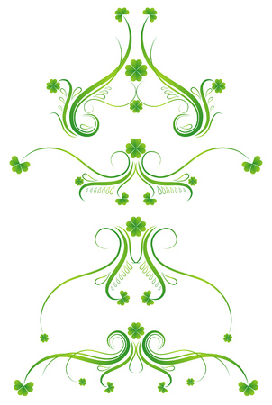 decorative ornament  with lovely shamrock , vector illustration