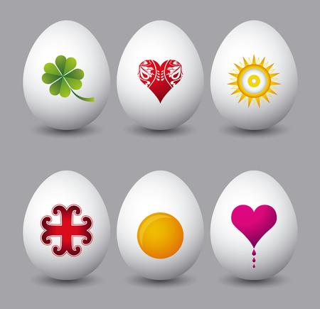 pasch: Sei uova di pasqua con diversi simboli su sfondo grigio  Vettoriali