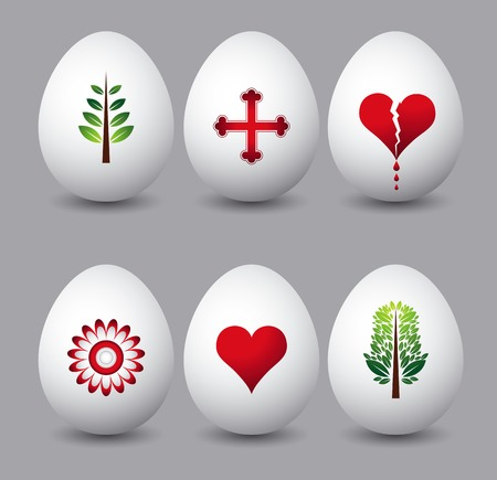 six easter eggs with different symbols over grey background Vector