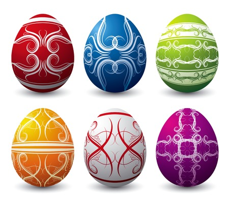 pasch: six color easter eggs over white background