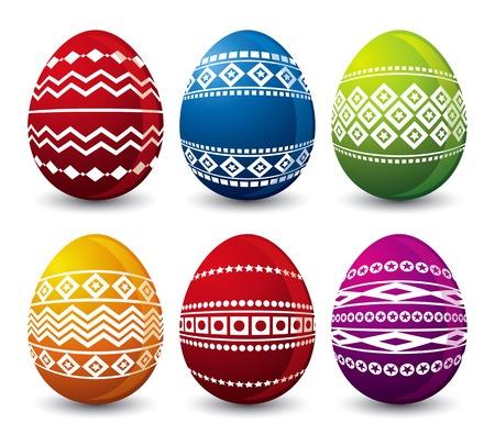 pasch: sei il colore delle uova di Pasqua su sfondo bianco