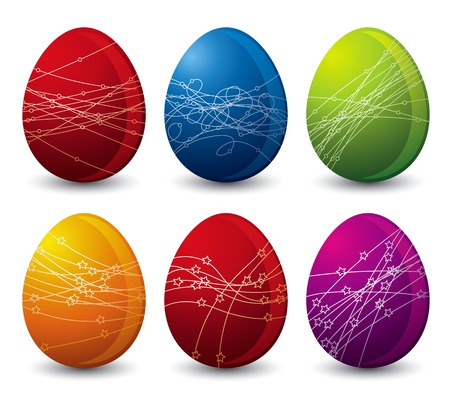 six color easter eggs over white background Vector