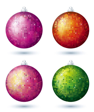 four christmas disco ball over white background, vector Vector
