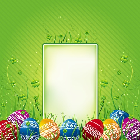 pasch: many color easter eggs over green  background