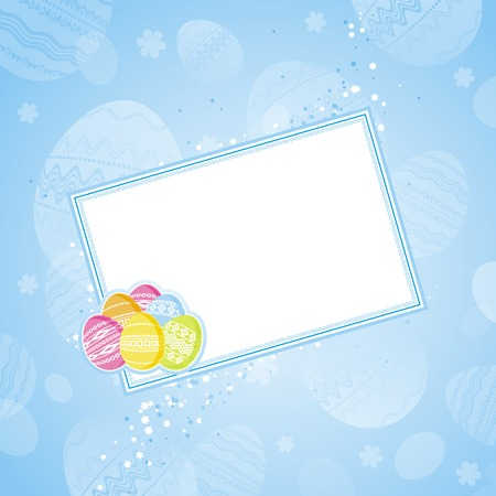 color easter eggs over blue background Vector