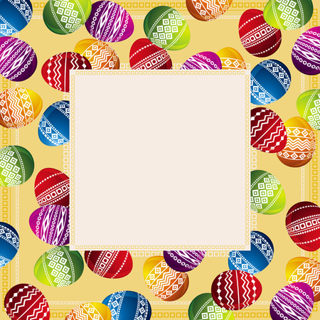 vector eggs: background with frame of easter eggs Illustration