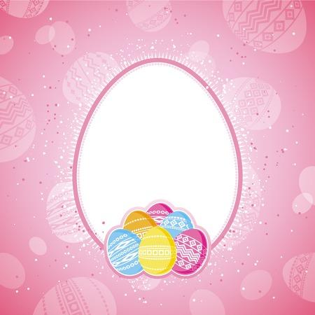 pasch: Uova di Pasqua a colori su sfondo rosa