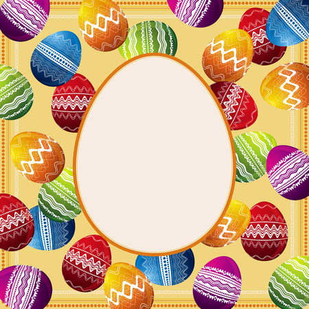 pasch: background with frame of easter eggs Illustration