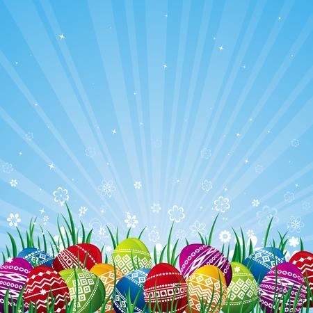 pasch: molti di colore uova di Pasqua su sfondo blu  Vettoriali