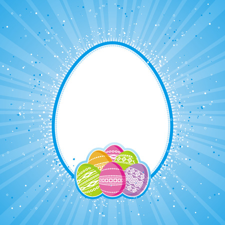 pasch: color easter eggs over blue  background