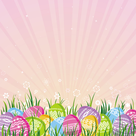 pasch: many color easter eggs over pink  background