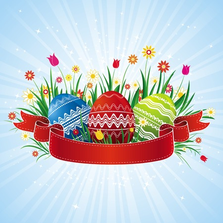 easter eggs with red ribbon, vector illustration Vector