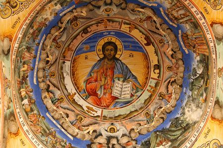 icon in  bulgarian Rila  monastery,built in year 1844 photo