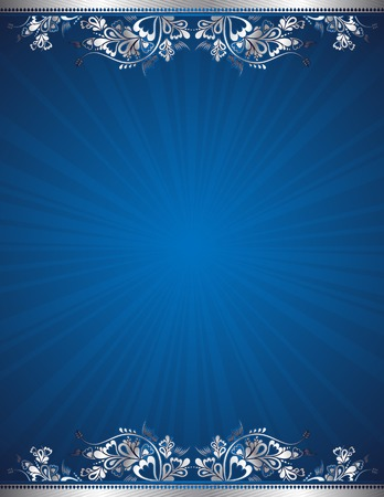 traditional silver wallpaper: blue antique background, vector illustration