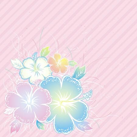 flora vector: bouquet of hibiscus on pink background, vector