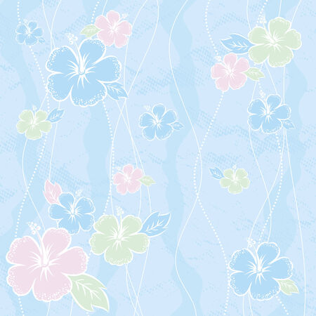 bouquet of hibiscus on blue background, vector Vector
