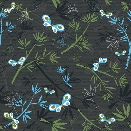 texture of bamboo spray and butterflies on grey background Vector