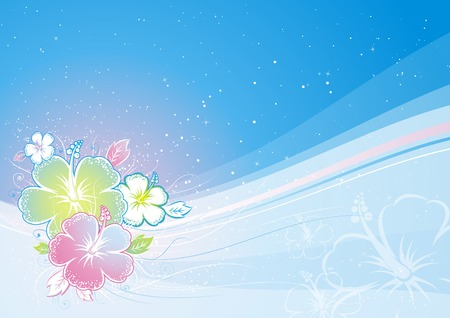 hawaii flower: bouquet of hibiscus on blue background