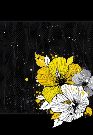 bouquet of hibiscus on black background Illustration