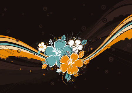 bouquet of hibiscus on brown background Illustration