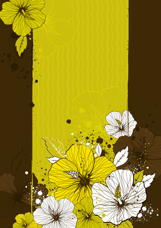 yellow stamens: bouquet of hibiscus on grunge background