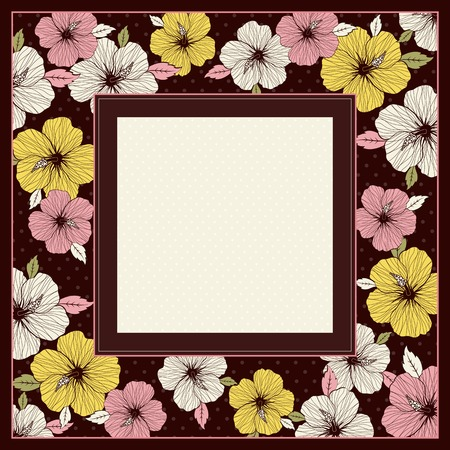frame of hibiscus on brown background, vector illustration Vector